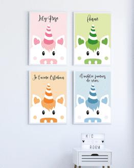 Un poster licorne personnalisé pour la chambre de votre enfant ou de votre bébé. Vous avez la possibilité de changer la couleur de l'affiche et d'ajouter un message ou un prénom.