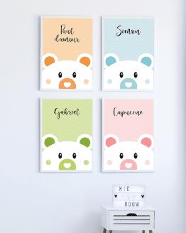 Poster ours personnalisé pour chambre d'enfant ou de bébé. Vous avez la possibilité de changer la couleur de l'affiche et d'ajouter un message ou un prénom sur votre affiche.