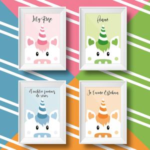Affiche licorne personnalisée pour enfant