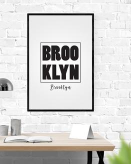 Acheter un poster en noir et blanc Brooklyn, pour une décoration d'intérieur comme le salon ou le bureau. Acheter cette affiche en noir et blanc c'est s'approcher du rêve américain.