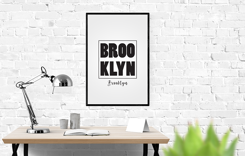 affiche brooklyn poster en noir et blanc les r ves de violaine. Black Bedroom Furniture Sets. Home Design Ideas