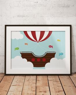 Acheter ce poster ou cette affiche bateau pirate pour décorer la chambre de votre enfant.