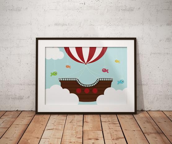 Affiche bateau pirate volant pour la décoration murale d'une chambre d'enfant.