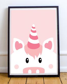 Affiche licorne rose pour decoration murale d'une chambre d'enfant