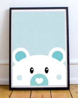 Affiche ours bleu pour décoration murale d'une chambre d'enfant.