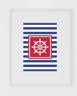 Affiche marinière bleu du lot d'affiches nautiques avec un gouvernail de bateau.