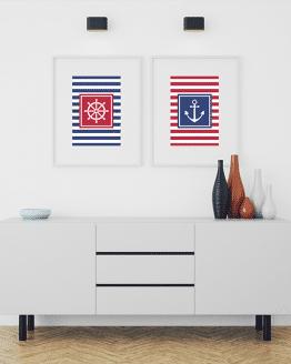 Acheter ce lot d'affiches nautiques composés de deux affiches marinières bleu et rouge avec un gouvernail et une ancre de bateau. Ces posters peuvent être achetés séparément.