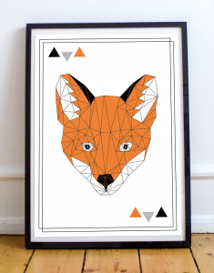 Affiche scandinave avec une tête de renard pour la décoration murale de votre salon ou d'une chambre.