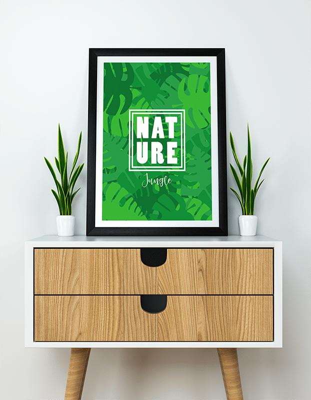 Poster mural texte nature sur le thème de la jungle. Pour la décoration murale de votre salon, optez pour une décoration jungle avec cette affiche.