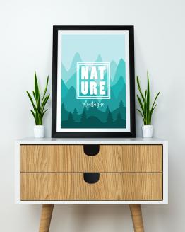 Poster mural texte nature sur le thème de la montagne. Pour une décoration murale de votre salon, optez pour un paysage montagneux avec cette affiche.