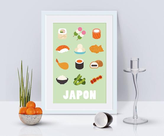 Affiche pour la décoration murale de votre cuisine. Ce poster représente douze spécialités japonaises. vous retrouverez sur la première ligne un maki avocat crevette, un dango et un maki au saumon. Sur la deuxième ligne de cette affiche, nous avons un sushi au saumon, des perles coco et un taiyaki. Sur la ligne suivante se trouvent un tempura crevette, un autre maki au saumon et des manju. Enfin, sur la dernière ligne de ce poster sur les spécialités culinaires du Japon, il y a un bol de riz, des edamame et un yakitori boeuf fromage.