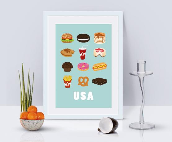 Affiche pour votre cuisine qui reprend douze aliments typiquement américains : le hamburger, les frites, le soda, le pancake, le bretzel, hot-dog, cheesecake, l'applepie.