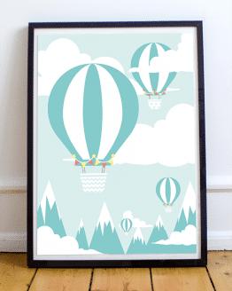 Poster mural montgolfière, mint et blanc, pour une chambre d'enfant.