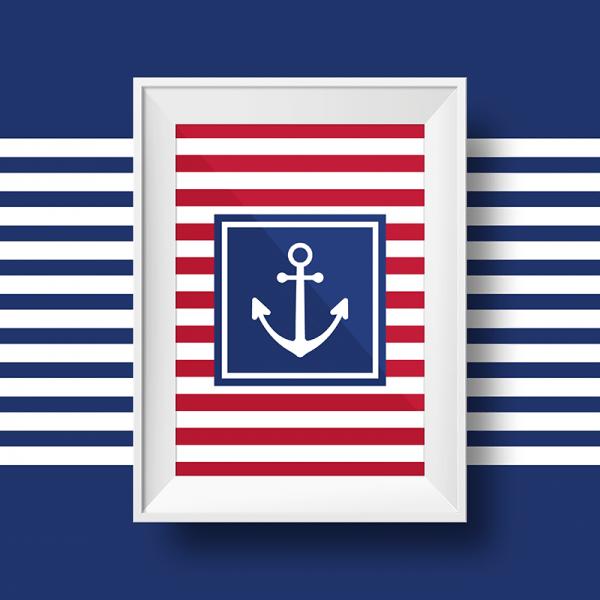 Affiche marin avec une ancre sur fond rayé rouge