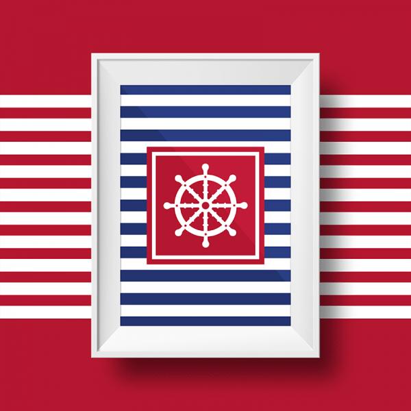 Affiche marin avec un gouvernail sur fond rayé bleu