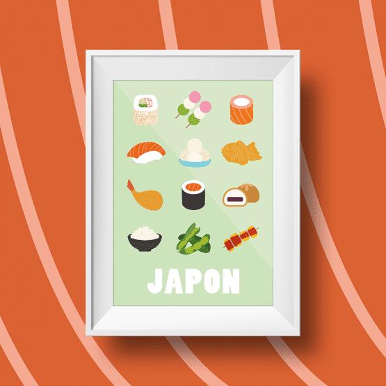 Affiche murale sur les spécialités culinaires japonaises