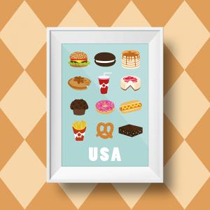 Affiche murale sur les spécialités culinaires américaines