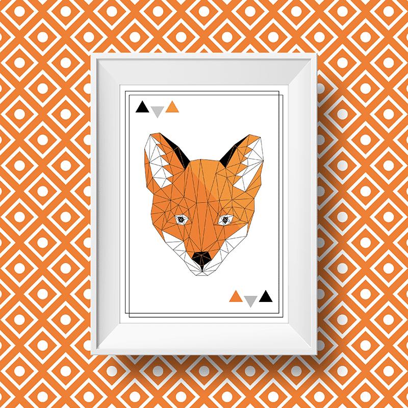 Affiche murale scandinave avec un renard orange à forme géométrique
