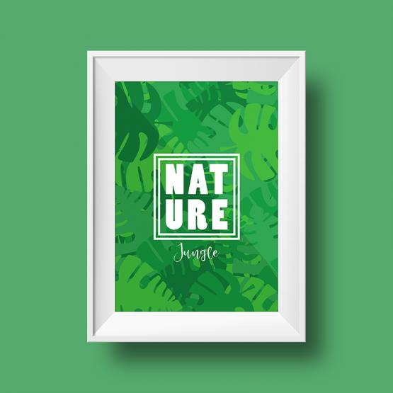 Affiche nature sur le thème de la jungle avec un fond vert
