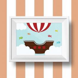 Affiche bateau pirate pour chambre enfant