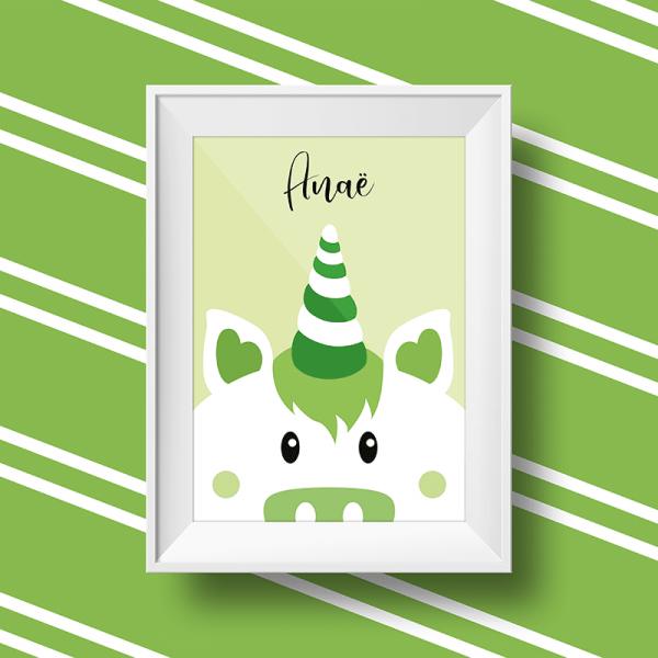 Affiche licorne personnalisée avec le prénom Anae sur fond vert