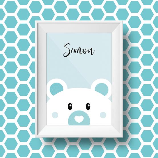 Affiche personnalisée petit ours avec le prénom simon sur fond bleu
