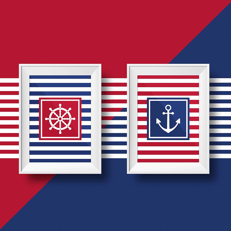 deux affiches marinières avec un gouvernail et une ancre sur fond rouge et bleu