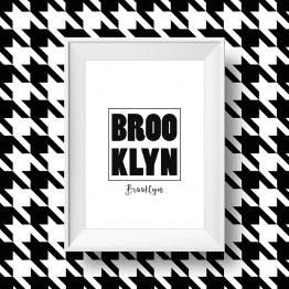 Affiche noir et blanc Brooklyn, quartier de new york