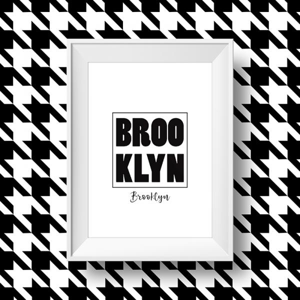 Affiche Brooklyn noir et blanc, quartier de new york