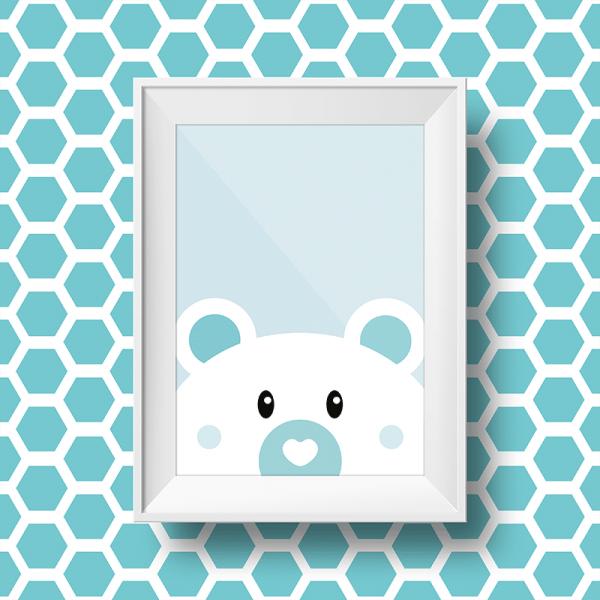 Affiche mural d'un petit ours sur fond bleu pour décoration murale d'une chambre d'enfant