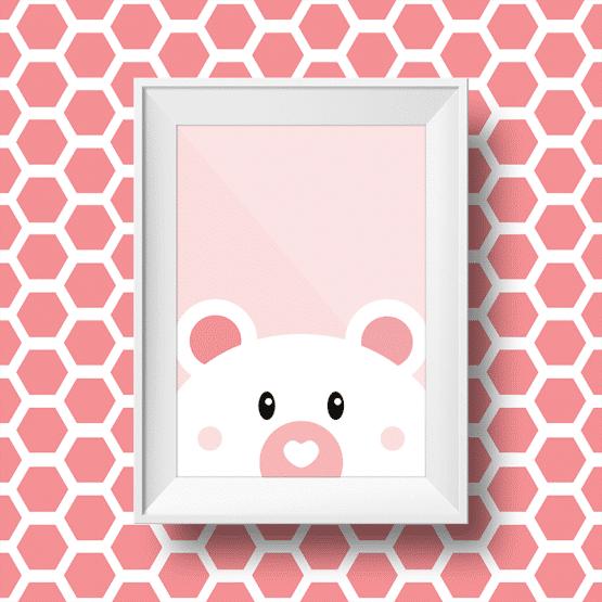 affiche murale d'un ours sur fond rose