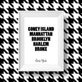 Affiche noir et blanc des quartiers de New-York