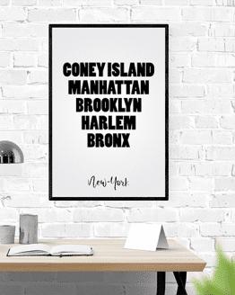 affiche murale en noir et blanc texte les boroughs ou quartiers de new-york.