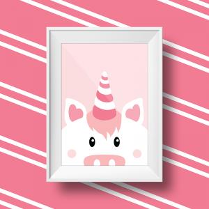 Affiche murale licorne rose pour decoration murale d'une chambre d'enfant