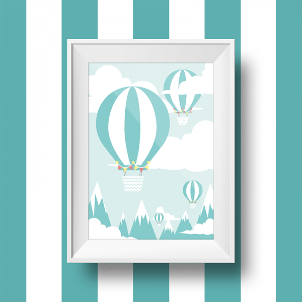 Affiche murale pour déco montgolfière
