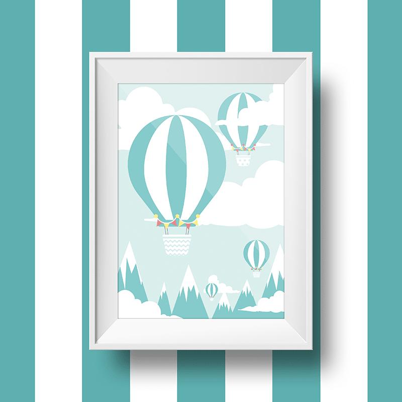 affiche murale montgolfière sur un fond de montages enneigées
