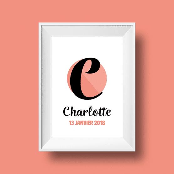 Affiche Poster initiale avec le prénom charlotte