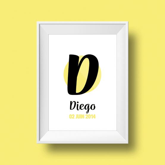 Affiche Poster initiale avec le prénom Diego