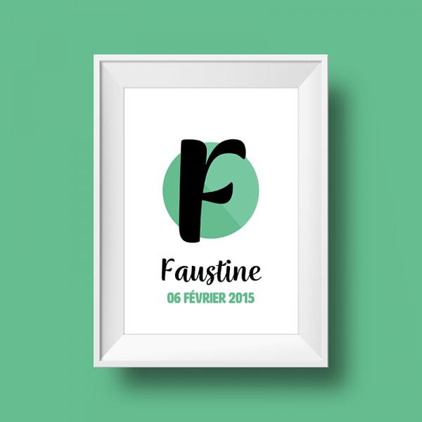Affiche Poster initiale avec le prénom Faustine