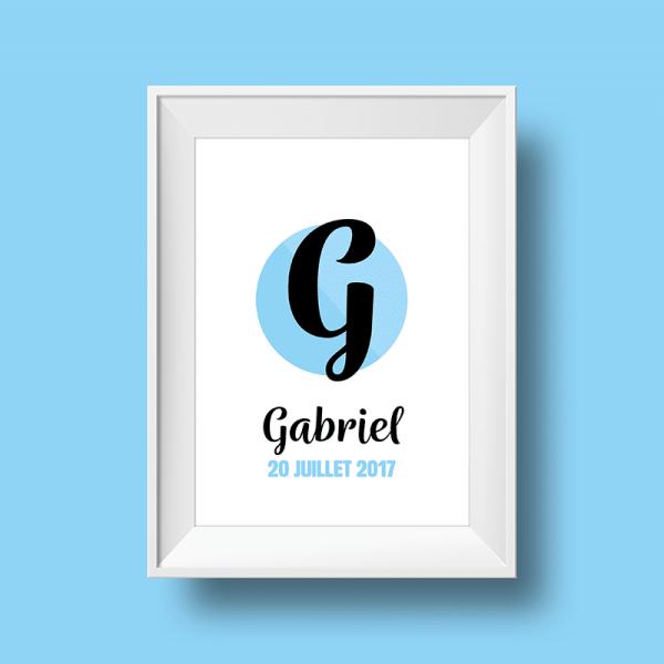 Affiche Poster initiale avec le prénom Gabriel