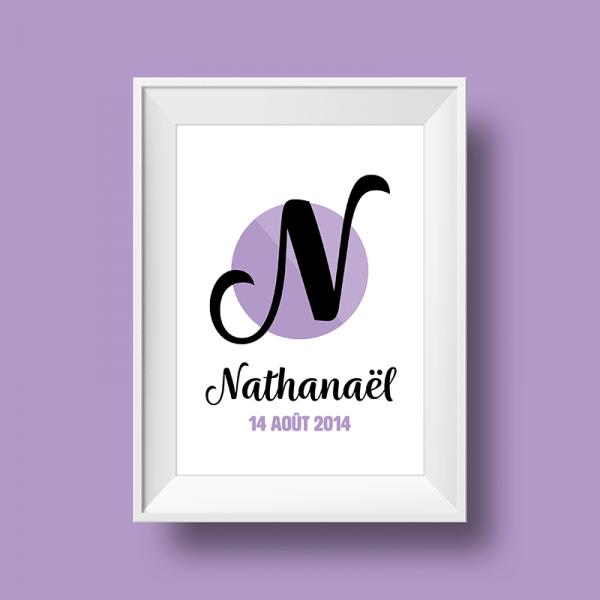 Affiche Poster initiale avec le prénom Nathanael