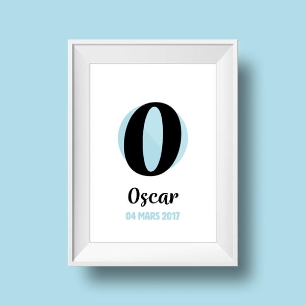 Affiche Poster initiale avec le prénom Oscar