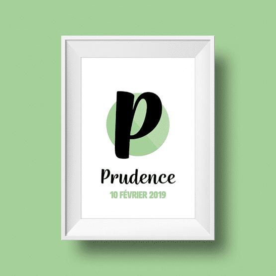 Affiche Poster initiale avec le prénom Prudence