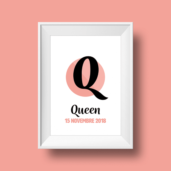 Affiche Poster initiale avec le prénom Queen