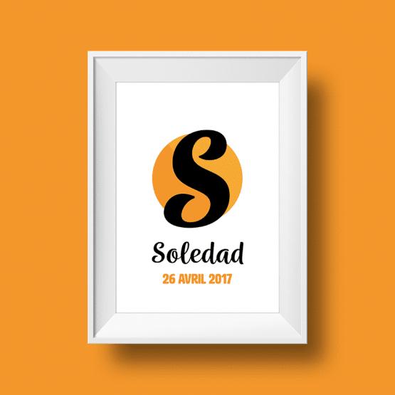 Affiche Poster initiale avec le prénom Soledad