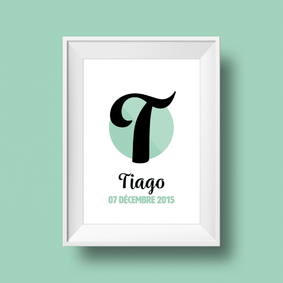 Affiche Poster initiale avec le prénom Tiago