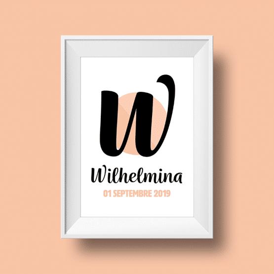 Affiche Poster initiale avec le prénom Wilhelmina