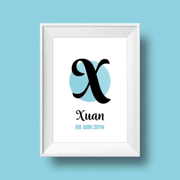 Affiche Poster initiale avec le prénom Xuan