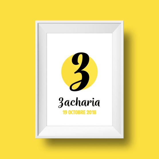 Affiche Poster initiale avec le prénom Zacharia