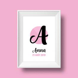 Affiche poster initiale A et prénom Anna personnalisée avec la date de naissance et une couleur au choix.